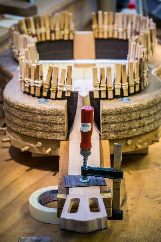 Flamenco guitar under construction